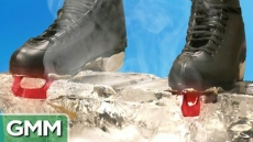 1500 Degree Hot Ice Skates vs. Ice Block
